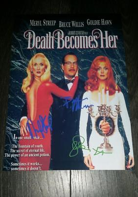 "DEATH BECOMES HER CAST PP SIGNED 12""X8"" A4 PHOTO POSTER BRUCE WILLIS GOLDIE HAWN"