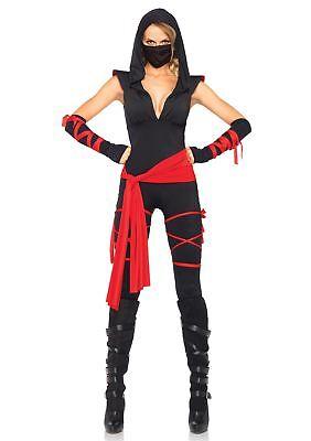 Leg Avenue Damen Tötlich Ninja Kostüm Schwarz und Rot Klein