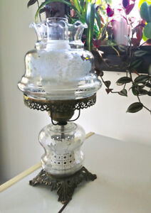 Vintage/Antique glass table lamp (lantern style)