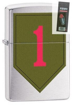 Zippo 29182 US Army 1st Infantry Brushed Chrome New In Box Lighter + FLINT PACK