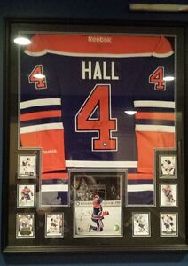 Autographed Taylor Hall framed(shadow box) Jersey, picture+stick Strathcona County Edmonton Area image 1