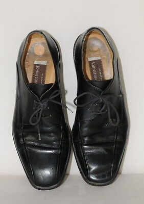 Johnston & Murphy Black Handcrafted Mens Leather Dress Shoes sz 7 US Italy EUC