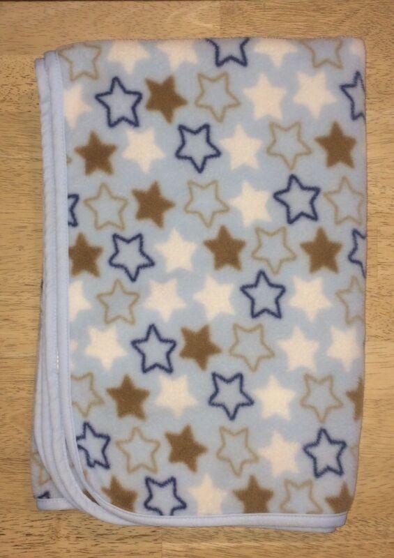 Baby Boys Blanket Stars Navy Blue Brown White Plush Lovey Rashti Rashti