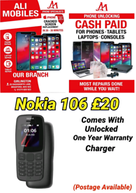 Nokia 106 Comes With Unlocked One Year Warranty Charger Postage Availa
