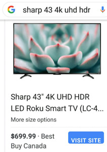 "Sharp 43"" 4K LED Roku Smart TV"