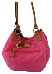 ommy Hilfiger très grand sac sacoche en toile rose et cuir Tan