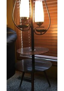 Retro 1970s Tiered Table with Lamps