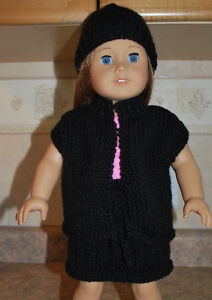 AMERICAN GIRL DOLL HAND KNIT 3PC SKIRT, VEST AND HAT