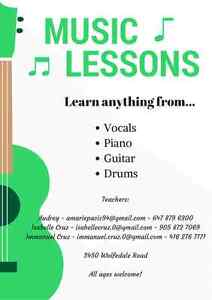 Music Lessons (Guitar, Piano, Drums, Vocals)