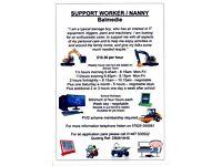 Carer , Support Worker , Nanny , Babysitter ,