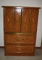 Solid walnut wood  dresser / wardrobe unit