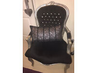 Black & Silver French Louis style occasion/ bedroom chair, diamanté back