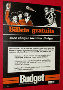 1981 BUDGET RENT A CAR EXPOS BASEBALL TICKETS AD - RETRO VINTAGE
