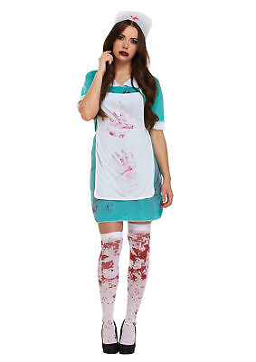 Bloody Nurse Surgeon Scrubs Halloween Fancy Dress Outfit Costume Size 10-14 (Scrubs Halloween Outfit)