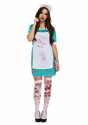 Bloody Nurse Surgeon Scrubs Halloween Fancy Dress Outfit Costume Size 10-14
