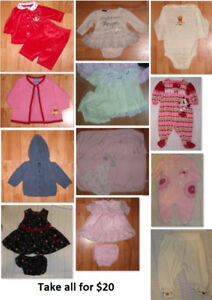0-3 Mths Baby Girl Clothing Lot 2 (Take all 12 Pieces for $20)