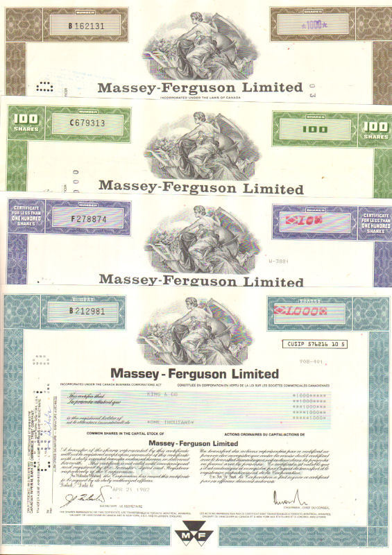 Massey-Ferguson Limited > Set of 4 Canada share stock certificate