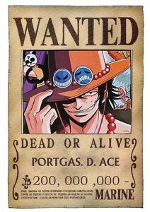 Poster One Piece Rufy Zoro Taglia Wanted Grande Ace 10 | eBay
