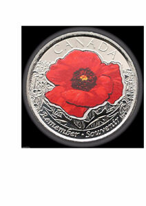 """2015 REMEMBRANCE DAY COLOURED """"POPPY"""" UNCIRCULATED (1 COIN)"""