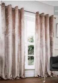Champagne crushed velvet eyelet curtains