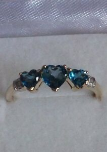 1.05ct London blue topaz and diamond ring