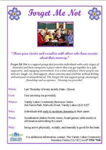 Forget Me Not - Dementia monthly support group Varsity Lakes Gold Coast South Preview