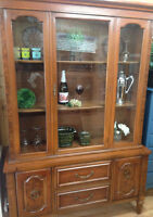 Antique wood display cabinet/hutch!