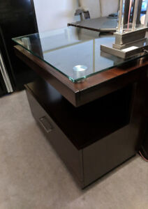 Tempered Glass and Wood Office / Bedroom side table / Storage