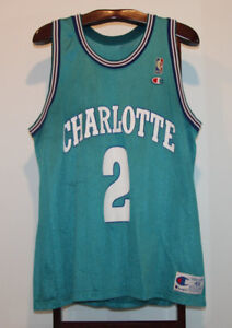 CHAMPION LARRY JOHNSON CHARLOTTE HORNETS BASKETBALL JERSEY 48