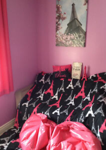Paris themed twin bedding curtains and decor
