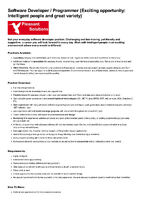 Software Developer / Programmer (Exciting opportunity)