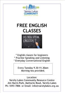 Free English Classes @ Varsity Lakes Community Resource Centre Varsity Lakes Gold Coast South Preview