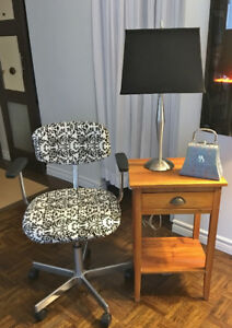 Side Table, Office Chair and Lamps