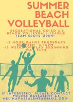 TEAM SPOTS available: Co-ed 6's Beach Volleyball