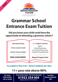 11 plus tuition (FREE 2 weeks) 11+ tutor Walsall Grammar School