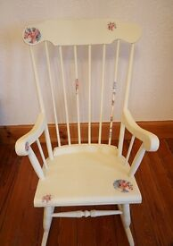 Vintage Cream Rocking Chair Floral Spindle Back Shabby Chic Solid Wood Nursery