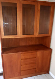 Cabinet hutch dinette $50 four drawers three glass doors