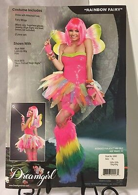 Rainbow Fairy Sexy Women's 2 Piece XL Costume Dress Skirt Neon Wings Halloween - Rainbow Fairy Costumes