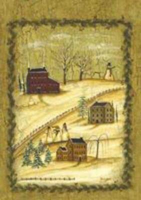 """Winter Village Primitive Garden Flag Seasonal Yard Banner Custom Decor 12"""" x 18"""""""