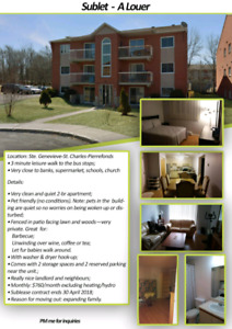 Apartment Sublease / Sublease