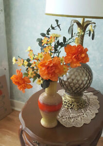 Artificial Flower Arrangement - Hand Crafted Pottery Vase ITALY