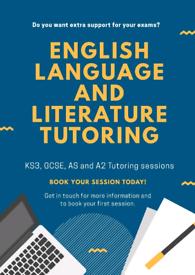 English Language and Literature tutoring: GCSE & AS/A2