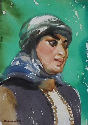 Charming Pair Watercolour Portrait Studies Each Inscribed c1970s Michael Little