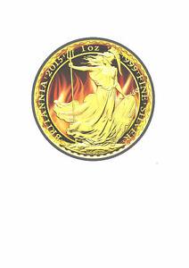 2015 1oz Burning Britannia Ruthenium 24K Gold Plated Silver Coin