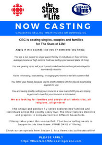 Now Casting - Canadians Selling Homes - CBC's The Stats of Life