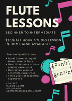Flute Lessons Offered for Beginner to Intermediate Students