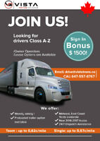 Vista Trans Holding is hiring A-Z Class Drivers/ Owner Operators