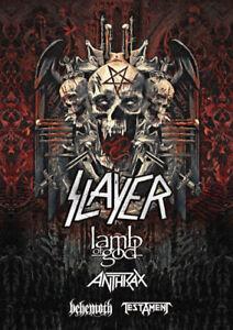 Slayer,Lamb of God,Anthrax,Behemoth,Testament- Sec 203 Row 6 !!!