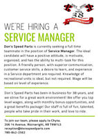 Hiring for a Service Manager at Don's Speed Parts, Wainwright.