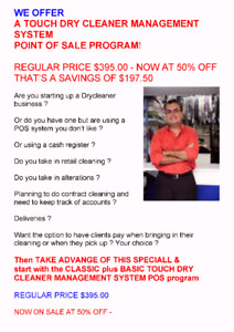 AUTOMATE YOUR DRY CLEANER WITH A COMPLETE TOUCH POS SYSTEM !